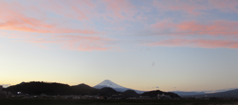 Red sunset over fuji