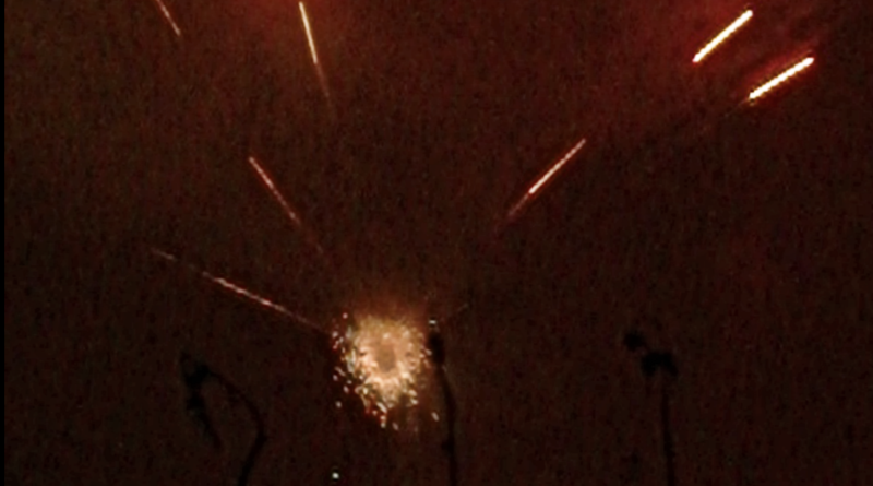 Urban park fireworks